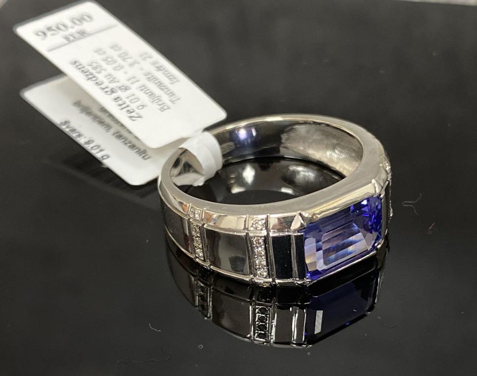 Zelta gredzens ar 11 briljantiem un tanzanītu