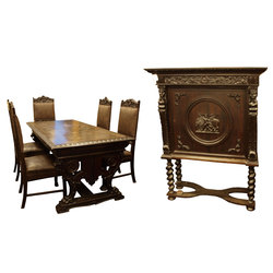 Mēbeļu komplekts - galds, pieci krēsli, skapis