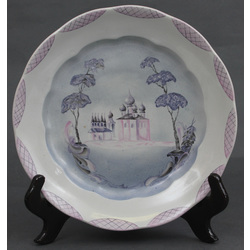 Porcelain plate with church view