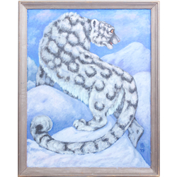 Sniega leopards kalna virsotnē