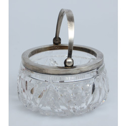 Crystal sugar bowl with silver finish