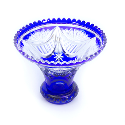 Crystal fruit bowl with blue etching
