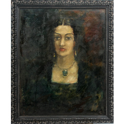 Portrait of a woman with an emerald necklace