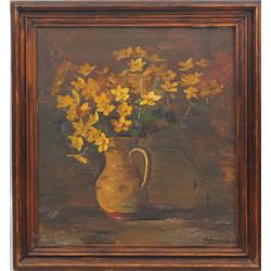 Klusā daba ar dzelteniem ziediem