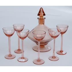 Krāsainā stikla karafe ar 6 glāzītēm