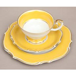 Porcelāna tasīte ar 2 apakštasītēm(dzeltena)
