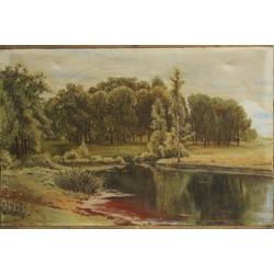 Meža  ainava ar ezeru