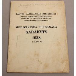 Medicīniskā personāla saraksts 1938.gadam