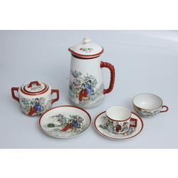 Porcelāna komplekts - Kanna, cukurtrauks, tasķīte, apakštasīte un šķīvis
