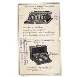 Rakstāmmašīnu reklāma Underwood Portable Typewriter