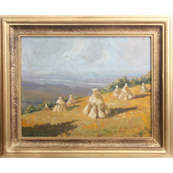 Landscape with hay stacks