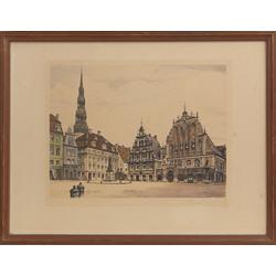 4 gravīras ar Rīgas skatiem - Rātslaukums, Rīgas panorāma, Skats uz Pēterbaznīcu, Pulvertornis