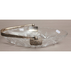 Crystal candy dish with silver finish