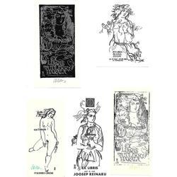 Ēvalda Okasa 5 ekslibri, reprodukciju albums un 3 oforti