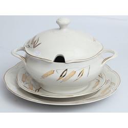 Porcelāna trauku komplekts - terīne, 2 servējamie šķīvji