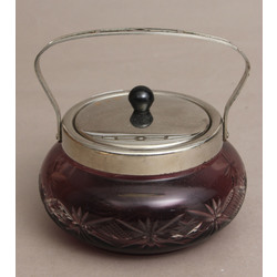 Colored glass sugar bowl with metal finish