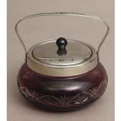 Krāsainā stikla cukurtrauks ar metāla apdari