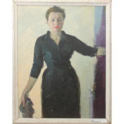 Abpusēja glezna - Sievietes portrets, Klusā daba ar krūku un augļiem