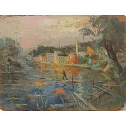 Pilsētas ainava ar upi