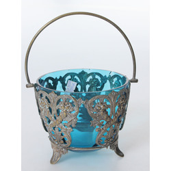 Blue glass candy bowl with metal finish
