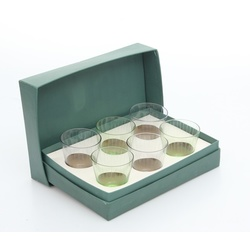 6 coloured glass glasses in the original packaging
