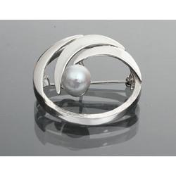 Jūgendstila Sudraba piespraude ar dabīgo pērli