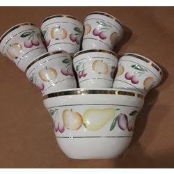 Porcelāna deserta komplekts -  1 lielais trauks, 6 mazie