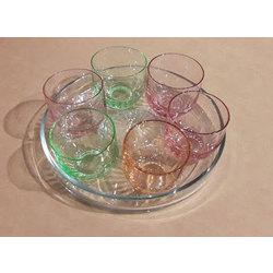 Iļģuciema stikla glāzīšu komplekts 6 gab. un paplāte