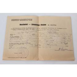 Izbraukšānas dokuments vācu un latviešu valodā