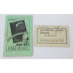 2 gab. - Jaunāko ziņu oferte, studentu grāmatnīcas kalendārs 1938.-1939