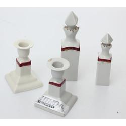 Divas porcelāna smaržu pudelītes un divi svečturi