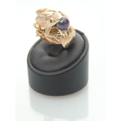 Gold ring with diamonds, black pearl and emeralds