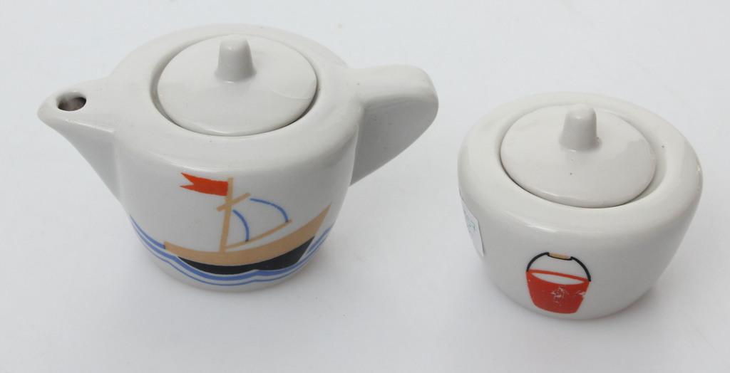 Porcelāna komplekts bērniem - kanniņa, cukurtrauks
