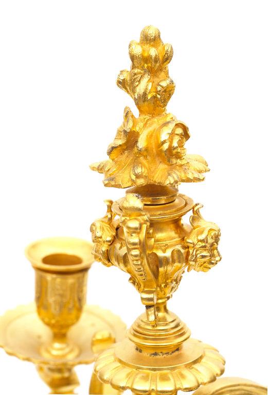 Zeltītas bronzas svečturi (2 gab.)