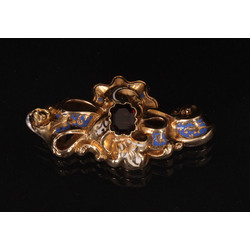 Gold brooch with enamel and garnet