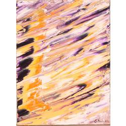 Abstrakta kompozīcija ar horizontālām līnijām (oranžs, violets, balts)