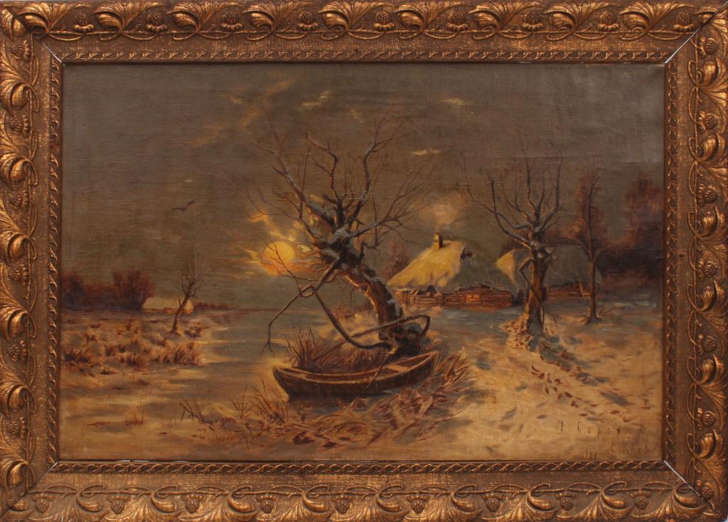 Ziemas ainava ar laivu