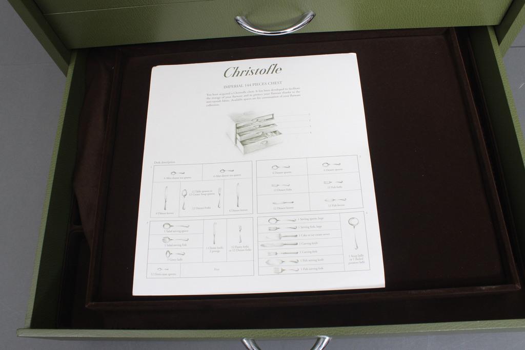 Apsudrabota metāla galda piederumu komplekts (nepilns) kastē Cristosfle