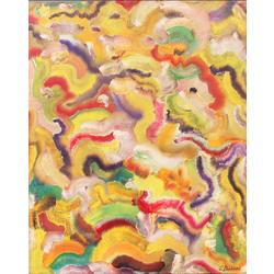 Abstrakta kompozīcija ar krāsainiem vilnīšiem