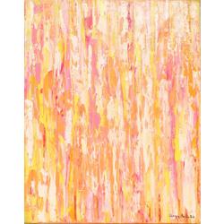 Abstrakta kompozīcija ar baltām, dzeltenām, oranžām, rozā līnijām