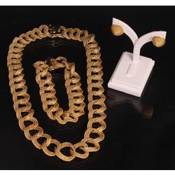 Komplekts zelta ķēde, rokassprādze , auskari