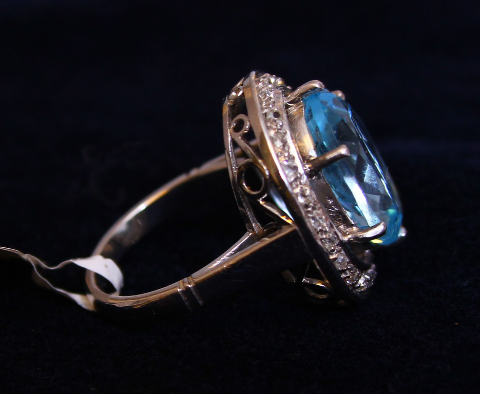 Ring with diamonds, topaz