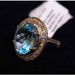 Ring with diamonds, topaz