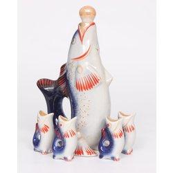 Porcelāna komplekts liķierim - karafe ar četrām glāzītēm
