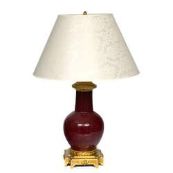 Keramikas galda lampa ar bronzas apdari