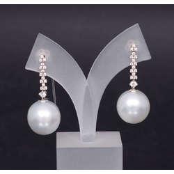 Baltā zelta auskari ar briljantiem un pērlēm