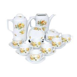 Kuzņecova tējas servīze ar dzelteno rozi