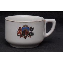 Porcelāna krūze ar Latvijas valsts ģērboni