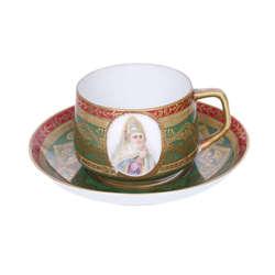 Gardner porcelāna tasīte un apakštasīte ar gleznojumu un zeltījumu
