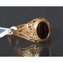 Art-deco stila sieviešu gredzens ar halcedonu